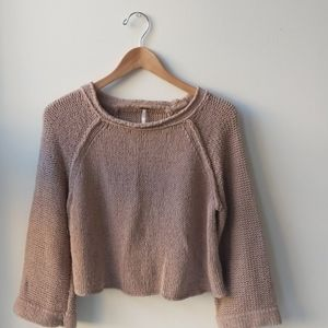 Free People Blush Crop Cut Out Back Sweater